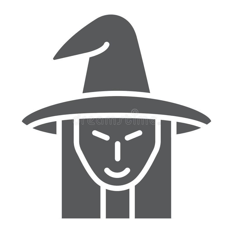 Icono del glyph de la bruja, brujería y Halloween, muestra de la cara de la bruja, gráficos de vector, un modelo sólido en un fon libre illustration