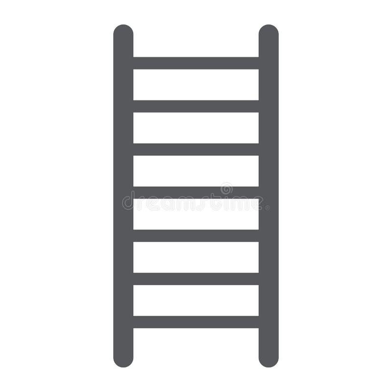 Icono del glyph de la escalera, escalera y subida, muestra de la escalera de fuego, gráficos de vector, un modelo sólido en un fo stock de ilustración