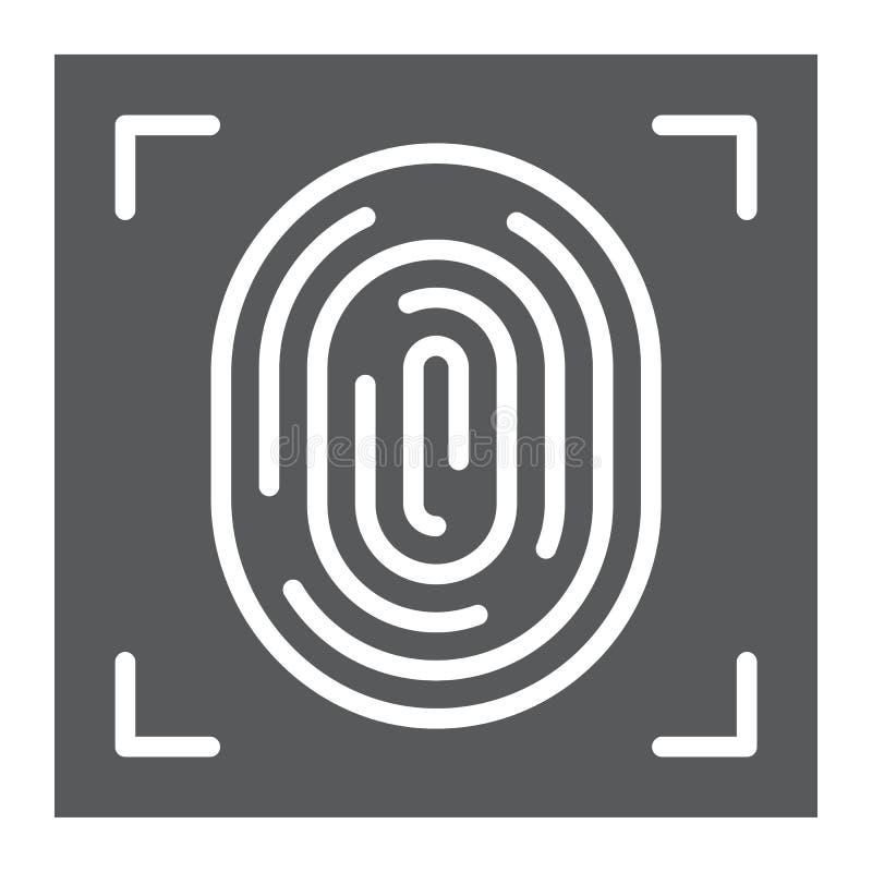 Icono del glyph de la huella dactilar, identificación y seguridad, muestra de la impresión, gráficos de vector, un modelo sólido  stock de ilustración