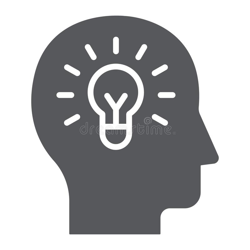 Icono del glyph de la idea, creatividad y solución humanos, bombilla en la muestra principal, gráficos de vector, un modelo sólid stock de ilustración