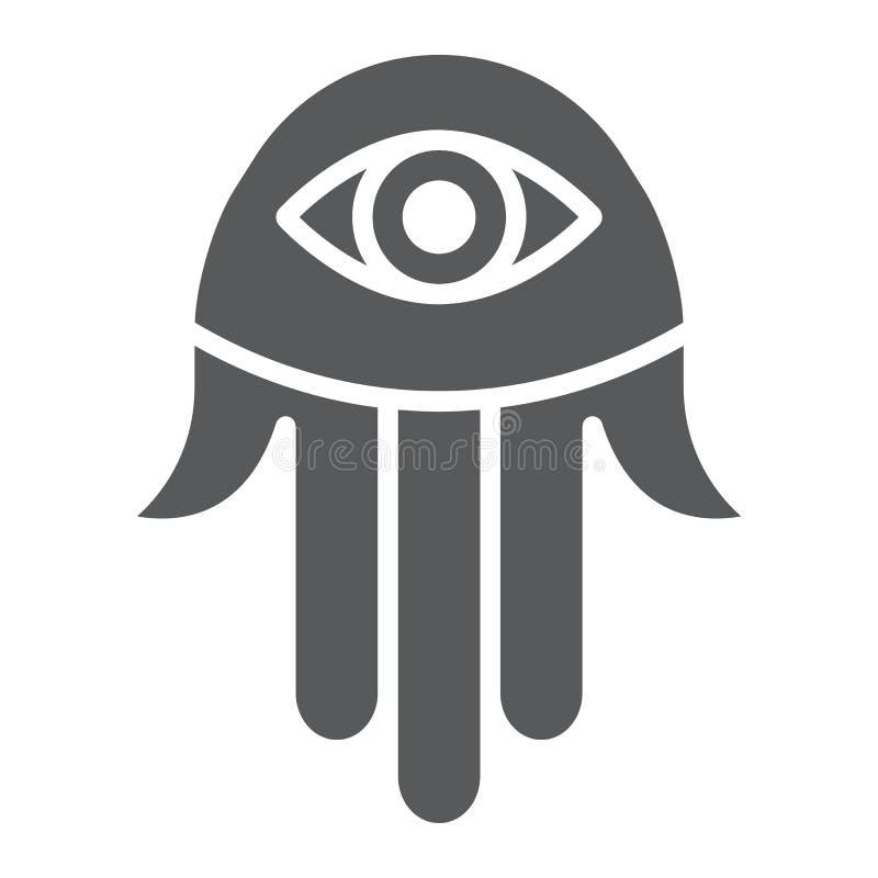Icono del glyph de la mano de Hamsa, religión y árabe, muestra de Fátima, gráficos de vector, un modelo sólido en un fondo blanco ilustración del vector