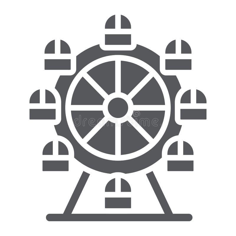 Icono del glyph de la noria, funfair y entretenimiento, muestra del carrusel, gráficos de vector, un modelo sólido en un blanco ilustración del vector