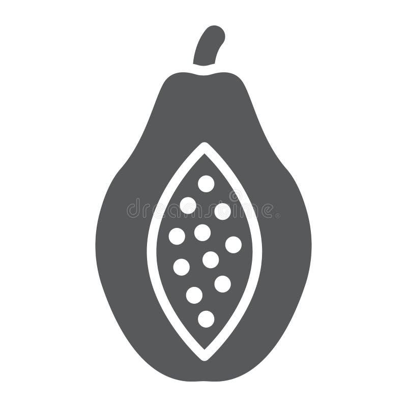 Icono del glyph de la papaya, fruta y vitamina, muestra de la dieta libre illustration