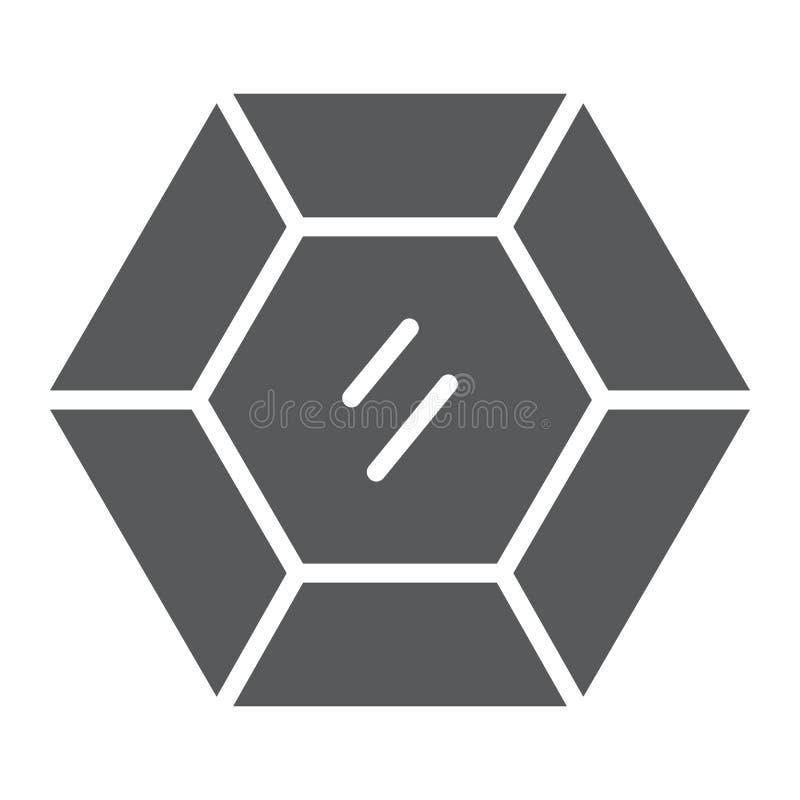Icono del glyph de la piedra preciosa, joyería y diamante preciosos, muestra brillante, gráficos de vector, un modelo sólido en u stock de ilustración