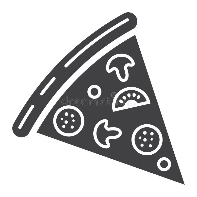 Icono del glyph de la rebanada de la pizza, comida y bebida, alimentos de preparación rápida stock de ilustración