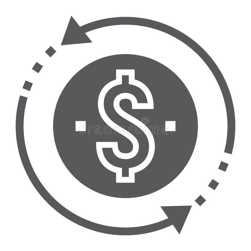 Icono del glyph de la rentabilidad de la inversión, desarrollo ilustración del vector