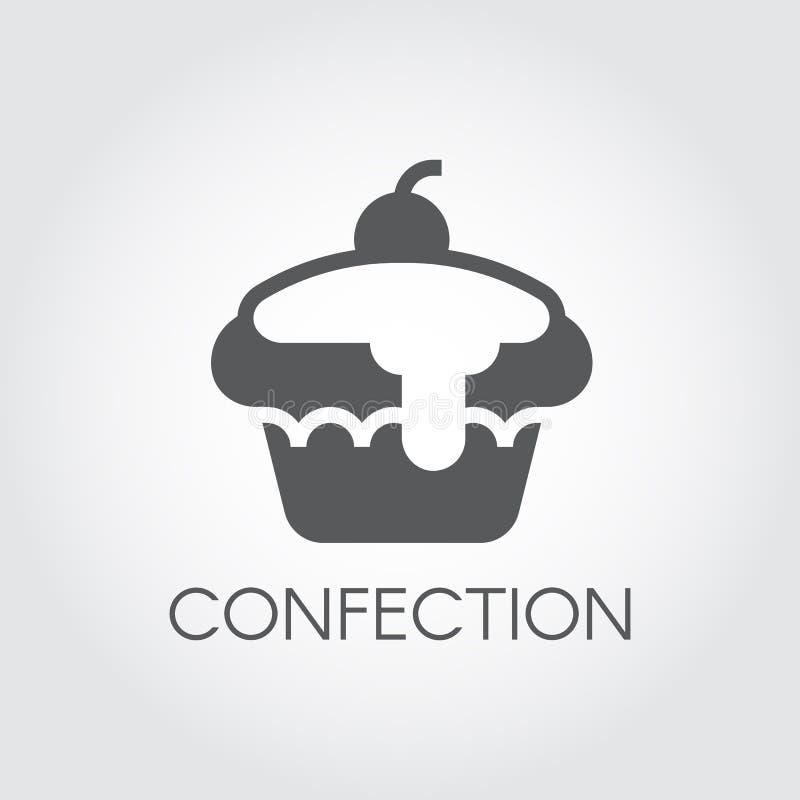 Icono del glyph de la torta Símbolo de los dulces Logotipo plano del postre dulce Empanada festiva de la cereza Panadería en cump libre illustration