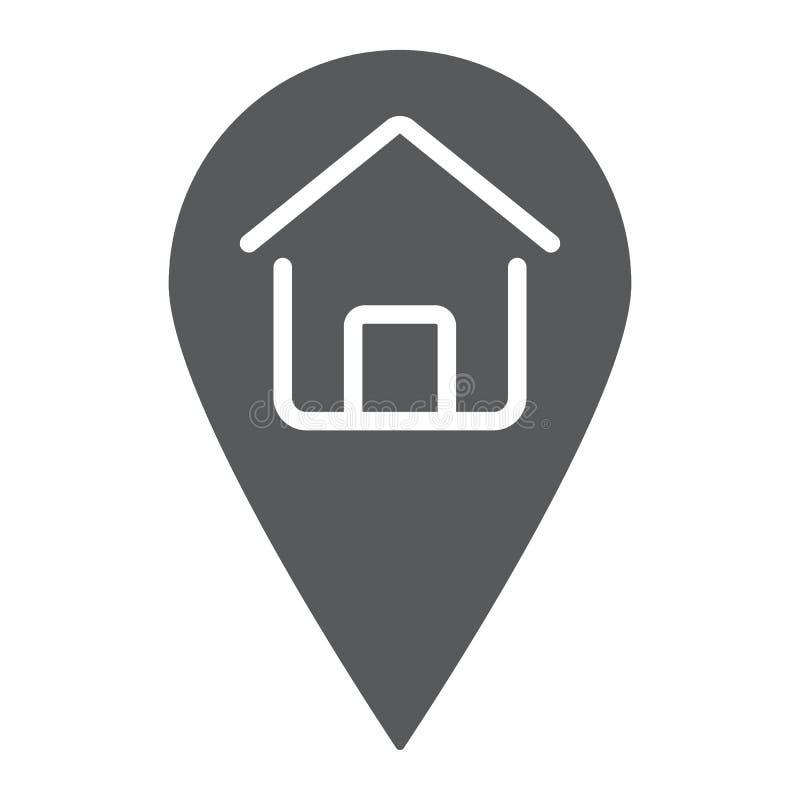 Icono del glyph de la ubicación casera, propiedades inmobiliarias y hogar stock de ilustración