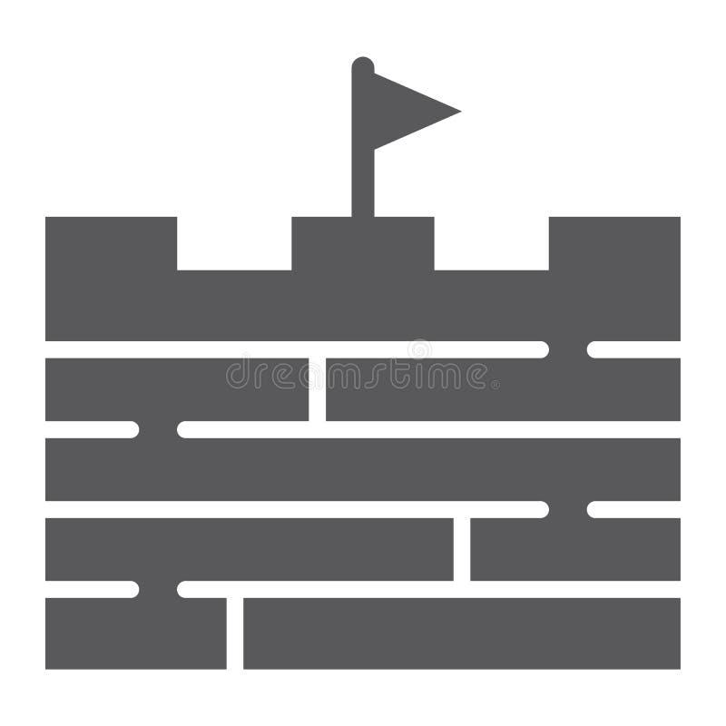 Icono del glyph de las aventuras, juego y bandera, muestra de la pared de ladrillo, gráficos de vector, un modelo sólido en un fo ilustración del vector