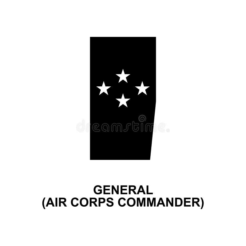 Icono del glyph de las filas militares y de las insignias de aire del comandante general francés del cuerpo libre illustration