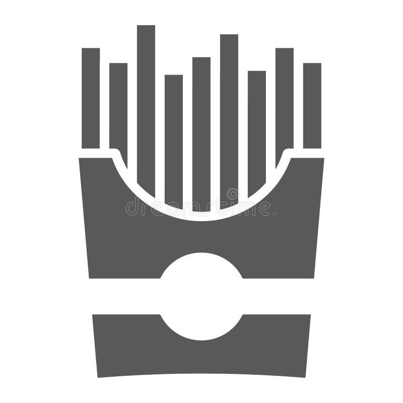 Icono del glyph de las patatas fritas, bocado y comida, muestra de la patata, gráficos de vector, un modelo sólido en un fondo bl stock de ilustración