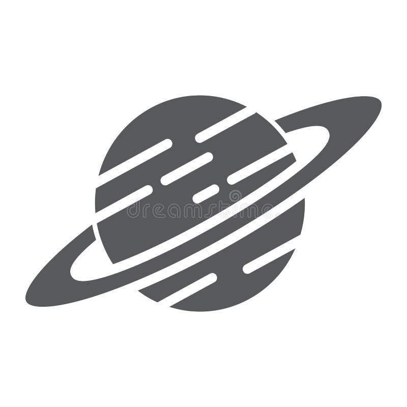 Icono del glyph de Saturn, astronomía y espacio, muestra del planeta, gráficos de vector, un modelo sólido en un fondo blanco stock de ilustración