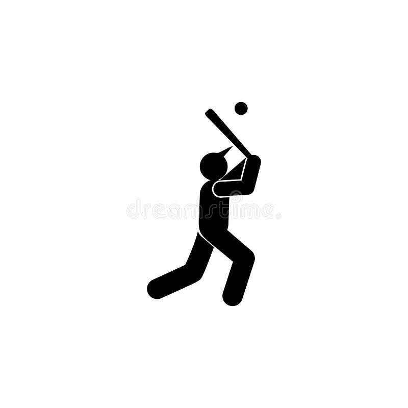 Icono del glyph del deporte del funcionamiento de la bola del hombre Elemento del icono del ejemplo del deporte del b?isbol Las m stock de ilustración