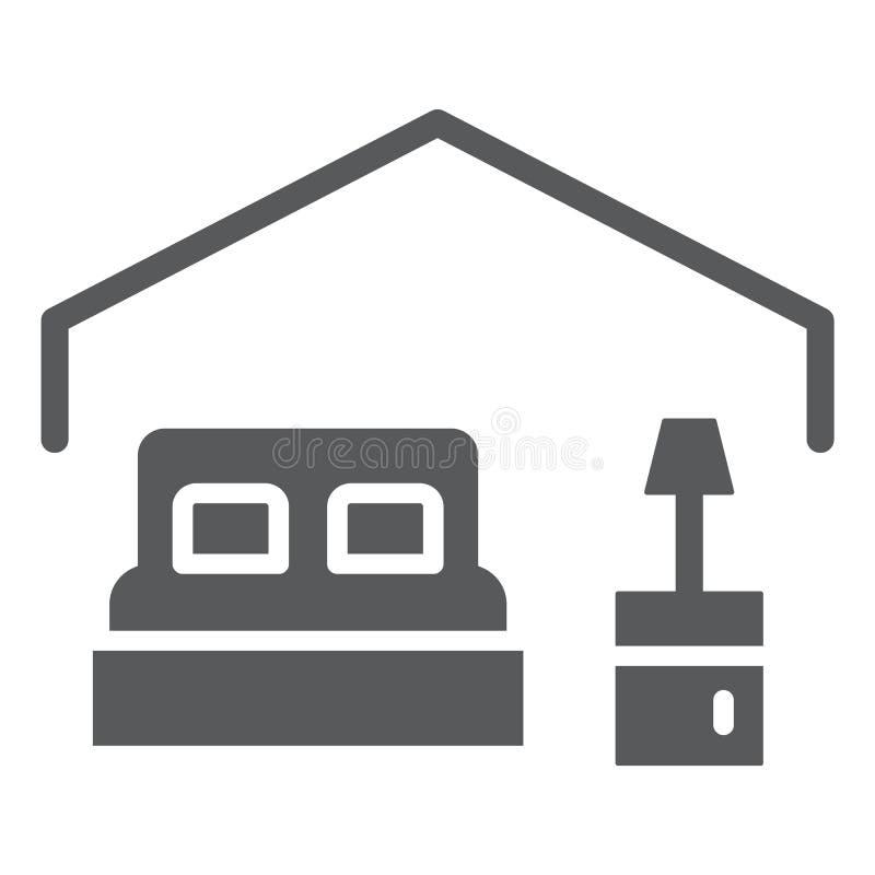 Icono del glyph del dormitorio, hotel y sueño, muestra de la cama, gráficos de vector, un modelo sólido en un fondo blanco stock de ilustración