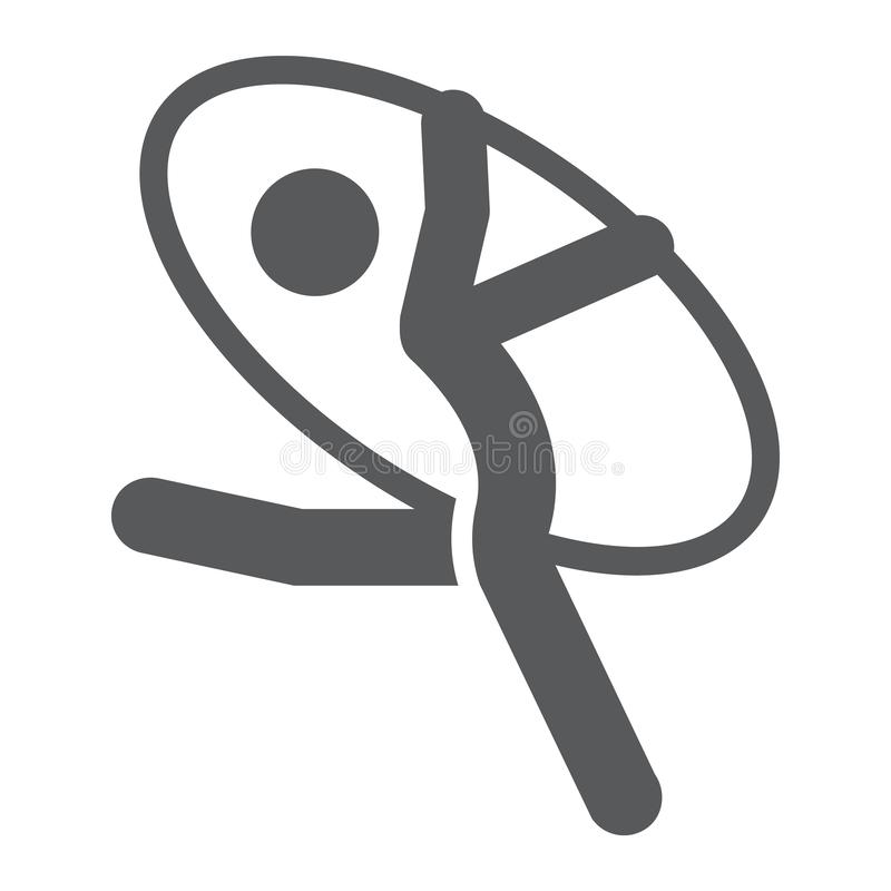 Icono del glyph del gimnasta, deporte y acróbata artísticos, muestra gimnástica rítmica, gráficos de vector, un modelo sólido en  stock de ilustración