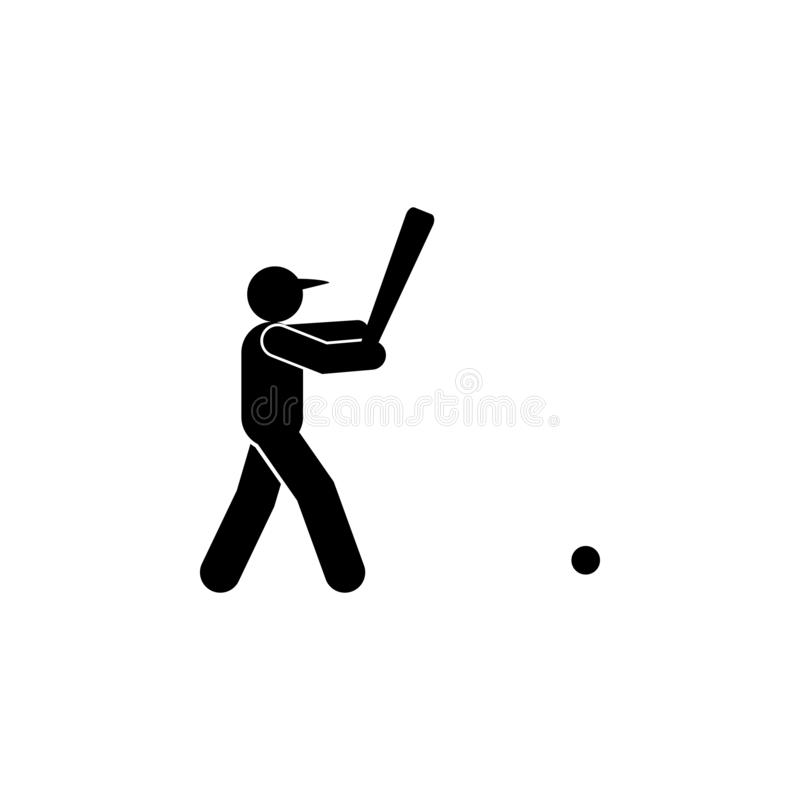 Icono del glyph del golpe del hombre del b?isbol Elemento del icono del ejemplo del deporte del b?isbol r stock de ilustración
