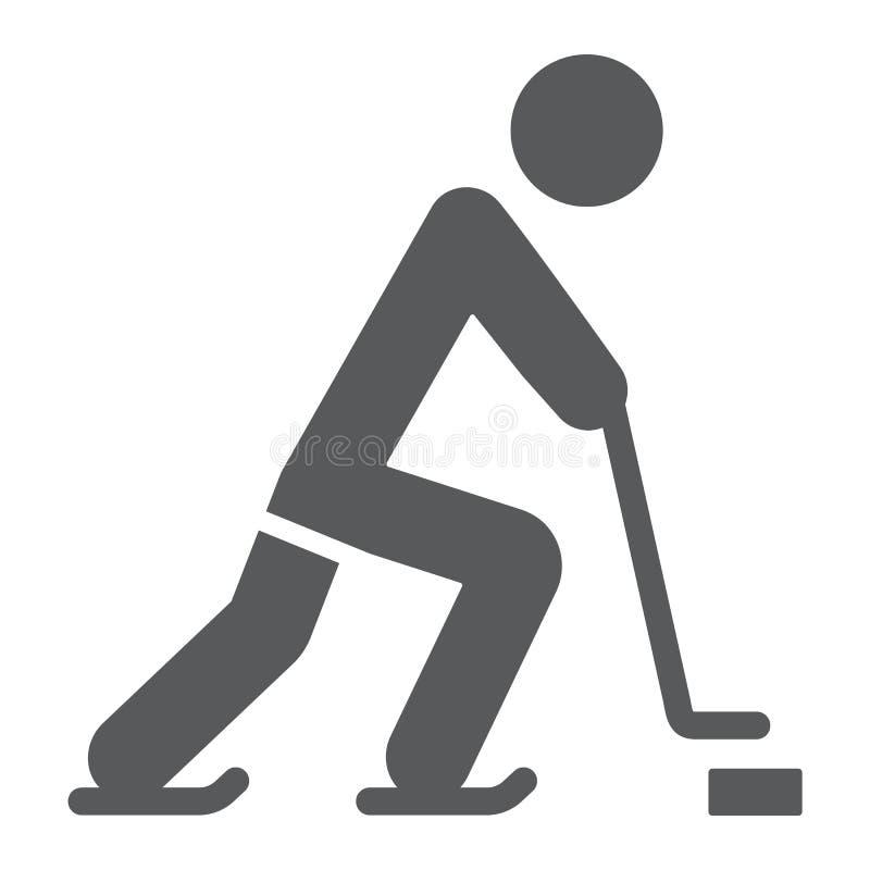 Icono del glyph del jugador de hockey, deporte y patín, muestra del hockey sobre hielo, gráficos de vector, un modelo sólido en u stock de ilustración