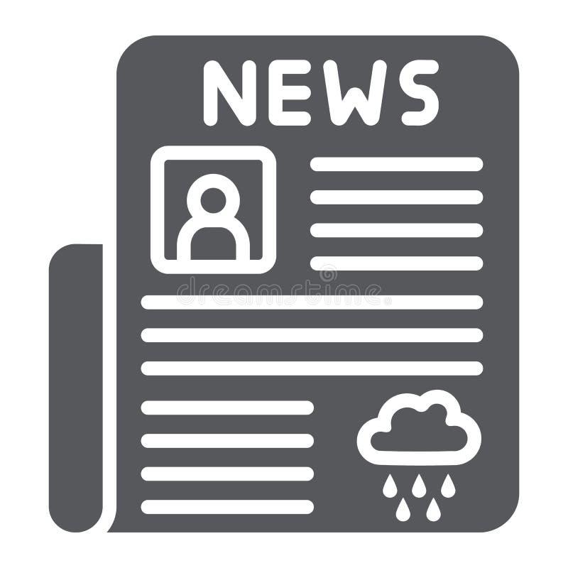 Icono del glyph del periódico, página y prensa, muestra diaria de las noticias, gráficos de vector, un modelo sólido en un fondo  ilustración del vector