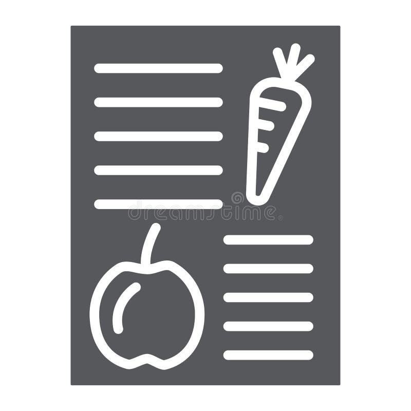 Icono del glyph del plan de la dieta, salud y comida, muestra equilibrada de la comida, gráficos de vector, un modelo sólido en u libre illustration