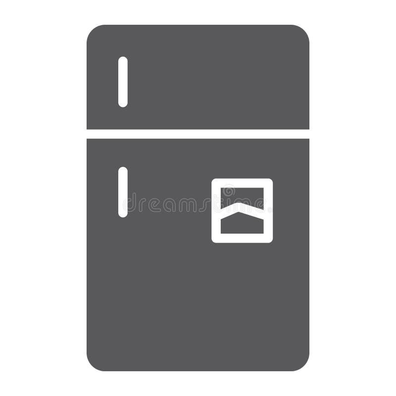 Icono del glyph del refrigerador, helada y hogar, muestra del refrigerador, gráficos de vector, un modelo sólido en un fondo blan libre illustration