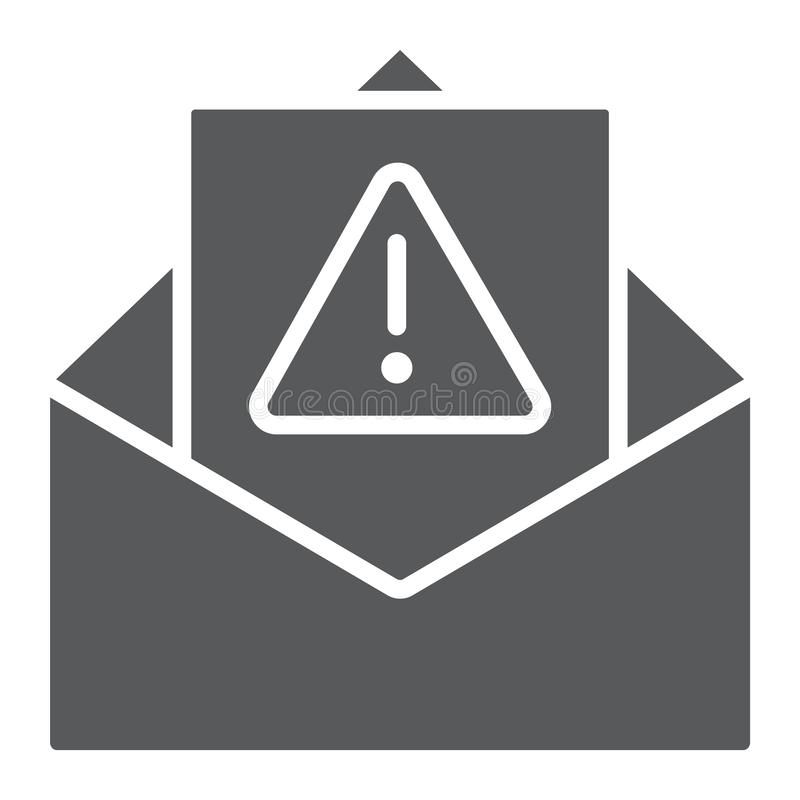 Icono del glyph del Spam, letra y correo electrónico de cuidado, muestra alerta del correo, gráficos de vector, un modelo sóli ilustración del vector