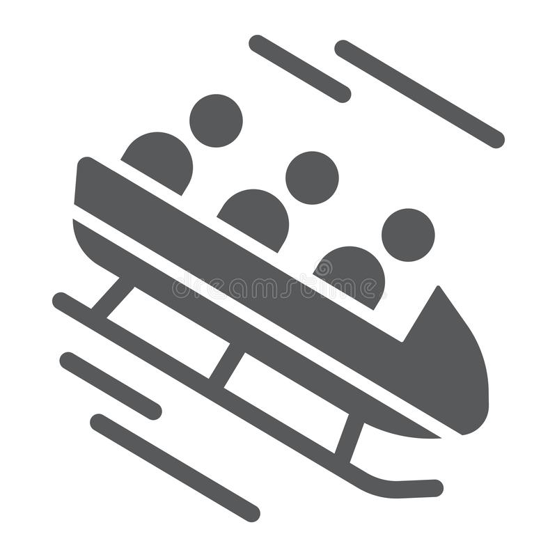 Icono del glyph del trineo, deporte e invierno, muestra del trineo, gráficos de vector, un modelo sólido en un fondo blanco stock de ilustración
