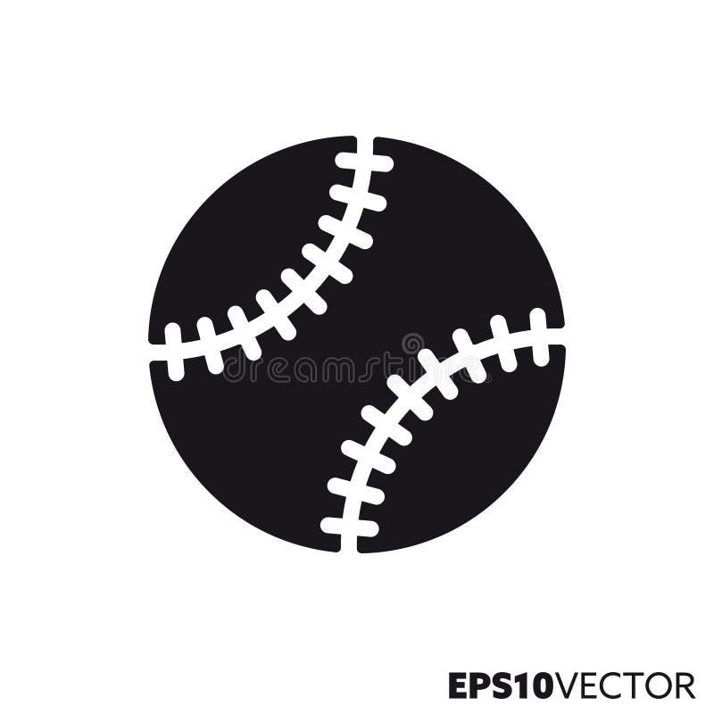 Icono del glyph del vector de la bola del béisbol ilustración del vector