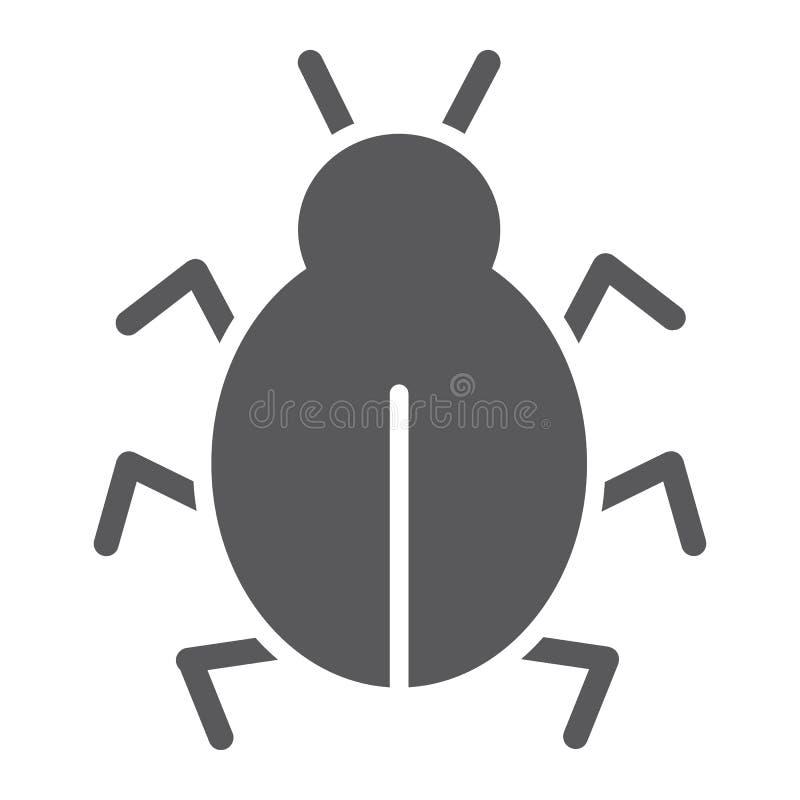 Icono del glyph del virus, seguridad y Internet, muestra del insecto del ordenador, gráficos de vector, un modelo sólido en un fo libre illustration