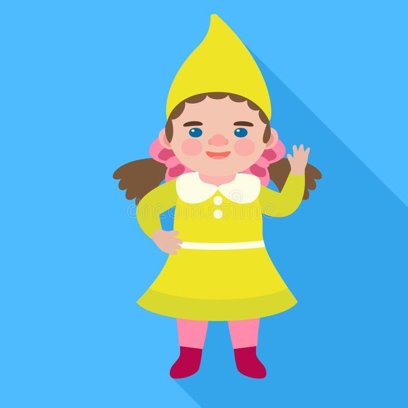 Icono del gnomo de la muchacha, estilo plano libre illustration
