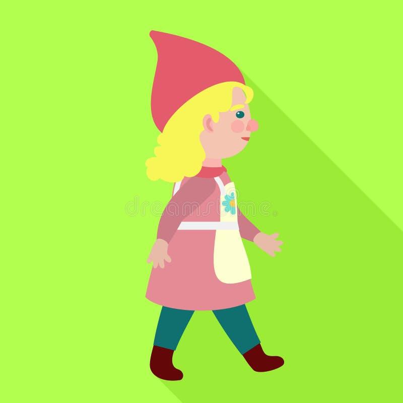 Icono del gnomo de la mujer que camina, estilo plano ilustración del vector