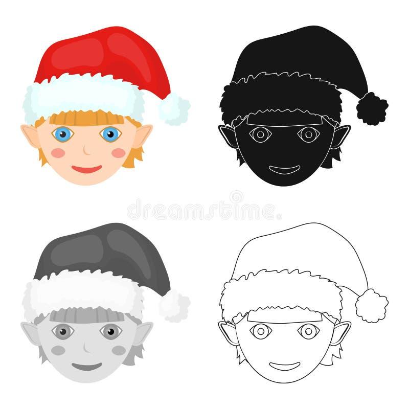 Icono del gnomo de la Navidad solo en la historieta, negro, estilo plano, monocromático para el diseño Ejemplo de la acción del s ilustración del vector