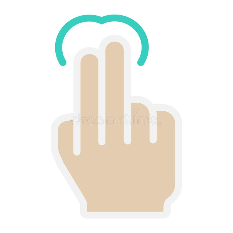 icono del golpecito de 2 fingeres, tacto y gestos de mano planos libre illustration