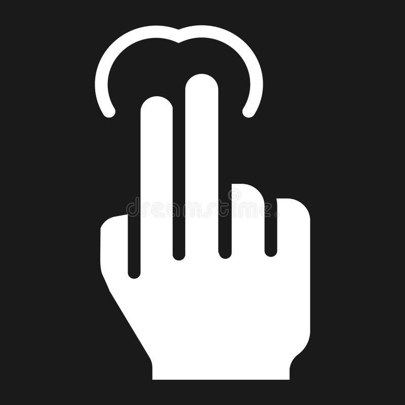 icono del golpecito de 2 fingeres, tacto y gestos de mano sólidos stock de ilustración