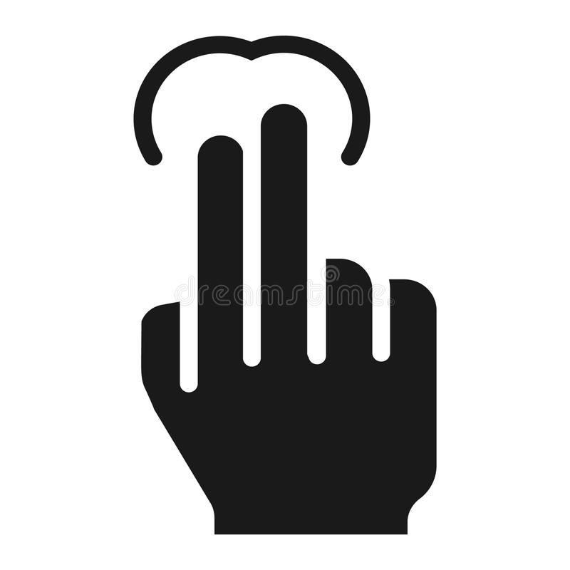 icono del golpecito de 2 fingeres, tacto y gestos de mano sólidos ilustración del vector