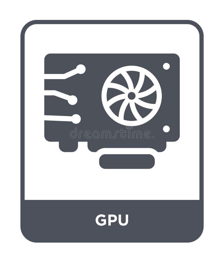 icono del gpu en estilo de moda del diseño icono del gpu aislado en el fondo blanco símbolo plano simple y moderno del icono del  stock de ilustración