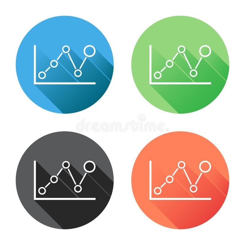 Icono del gráfico de la carta con la sombra larga Illustra plano del vector del negocio stock de ilustración