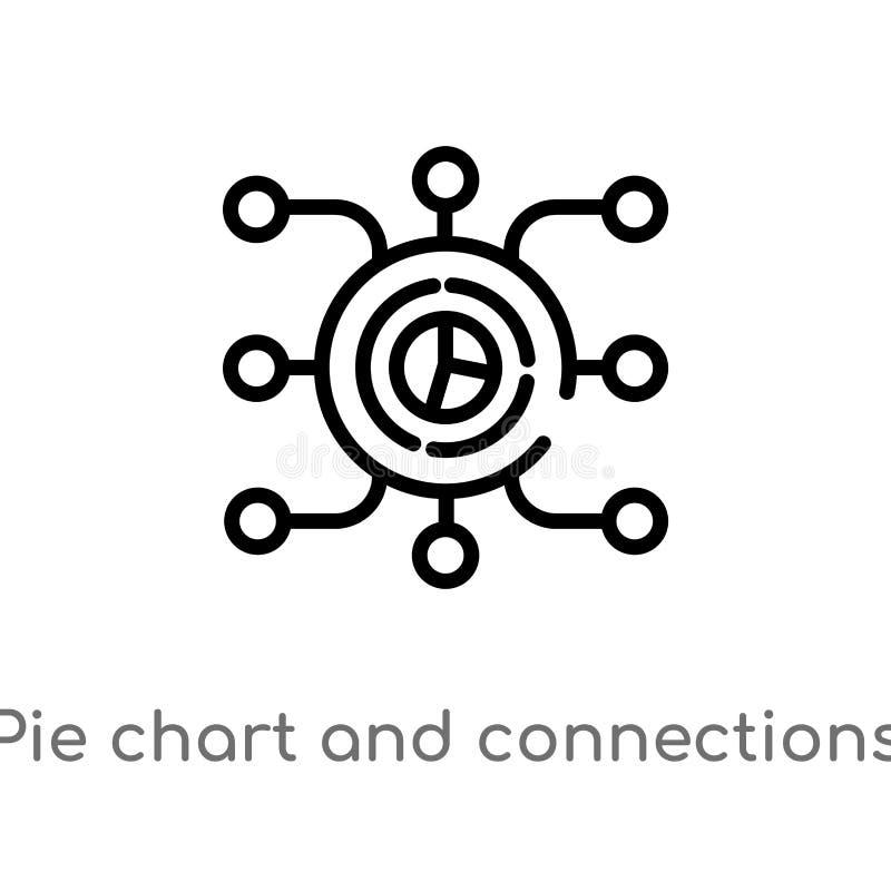 icono del gráfico de sectores del esquema y del vector de las conexiones línea simple negra aislada ejemplo del elemento del conc stock de ilustración