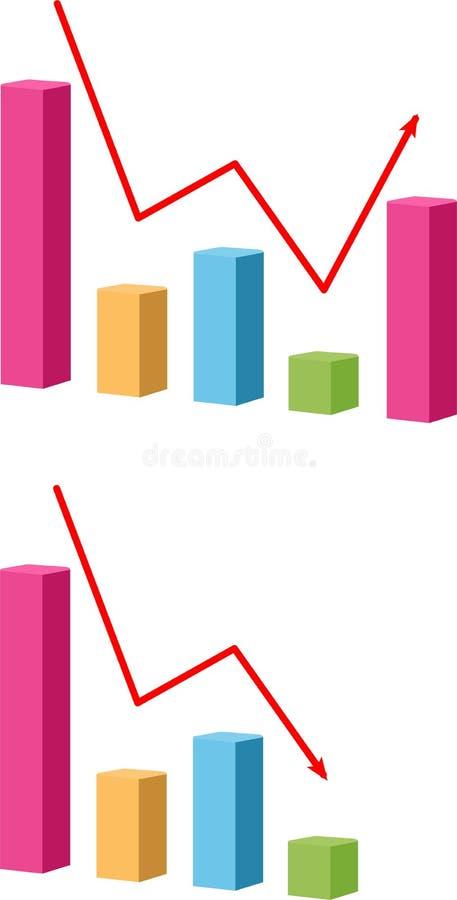 Icono del gráfico disminuya y del crecimiento Carta con las barras que disminuyen el icono del vector Símbolo del gráfico de las  stock de ilustración
