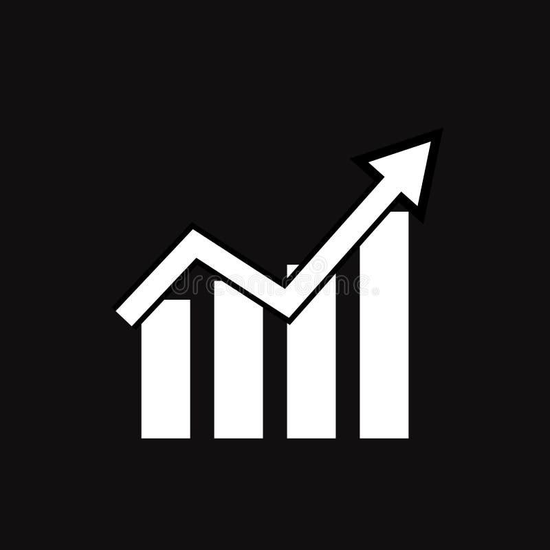 Icono del gráfico en fondo negro Estilo plano línea icono para su diseño del sitio web, logotipo, app, UI de la carta tendencia e libre illustration