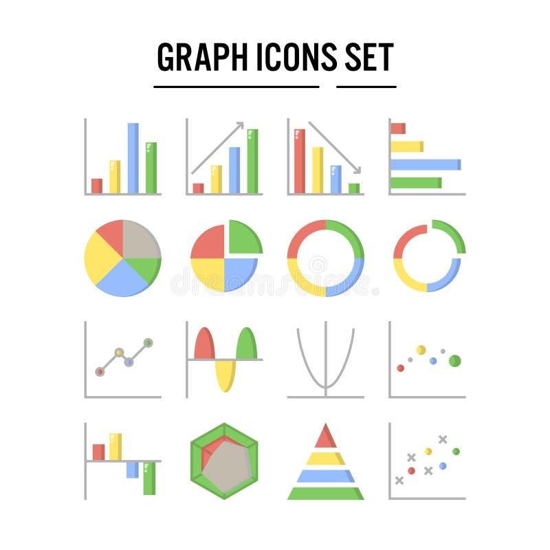Icono del gráfico y del diagrama en el diseño plano para el diseño web, infographic, presentación, aplicación móvil - ejemplo del ilustración del vector