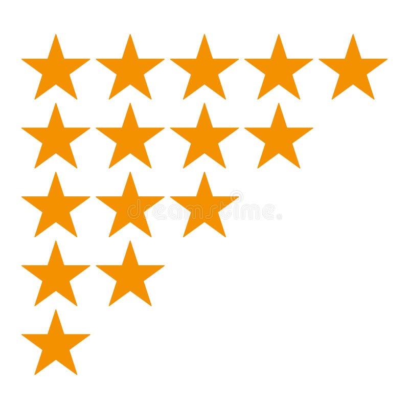 Icono del grado de cinco estrellas aislado en el fondo blanco Diversas filas a partir de la una a cinco estrellas S de oro ilustración del vector