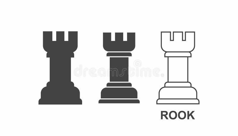 Icono del grajo del ajedrez ilustración del vector