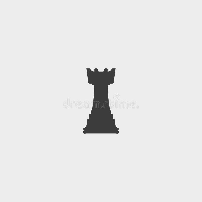 Icono del grajo del ajedrez en un diseño plano en color negro Ilustración EPS10 del vector stock de ilustración