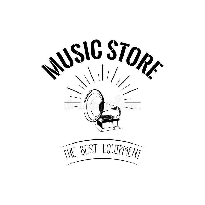 Icono del gramófono Logotipo de la tienda de la tienda de la música Las mejores letras del equipo Ilustración del vector stock de ilustración