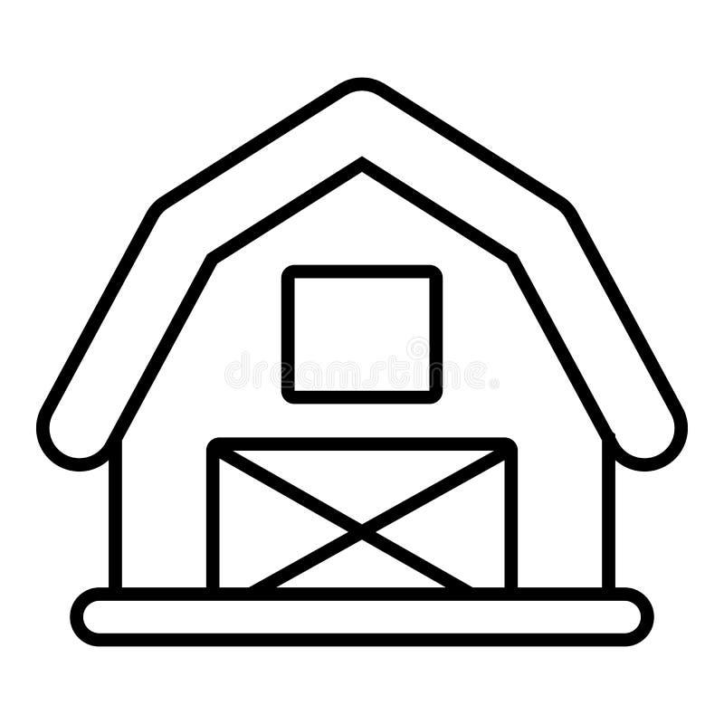 Icono del granero de caballo, estilo del esquema stock de ilustración