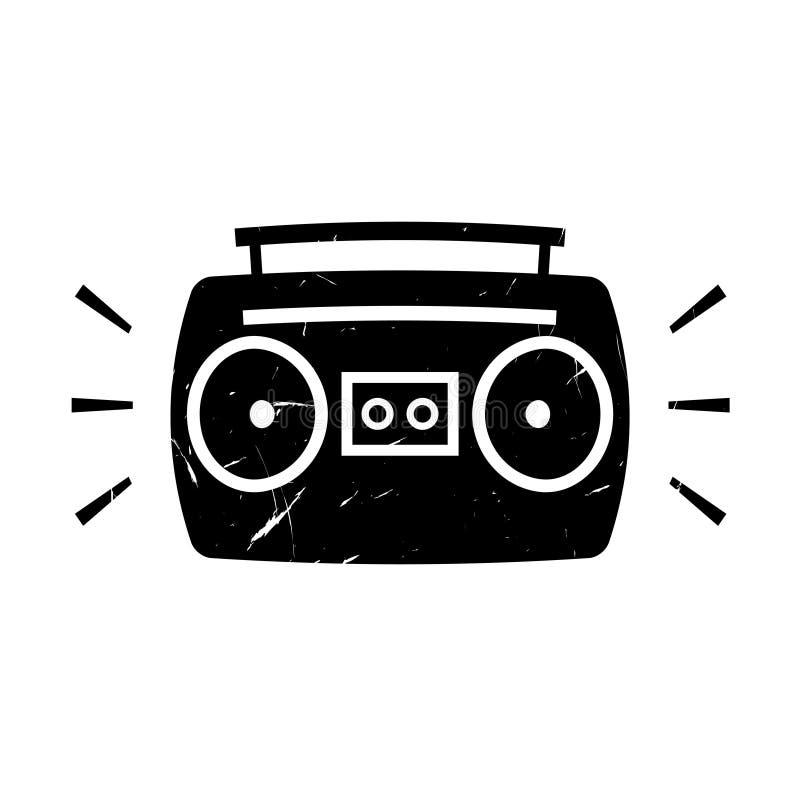 Icono del grunge del arenador del ghetto de Boombox stock de ilustración