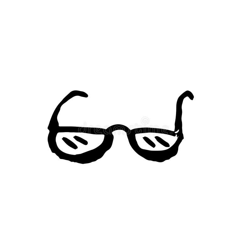 Icono del grunge de los vidrios Ilustración drenada mano del vector stock de ilustración