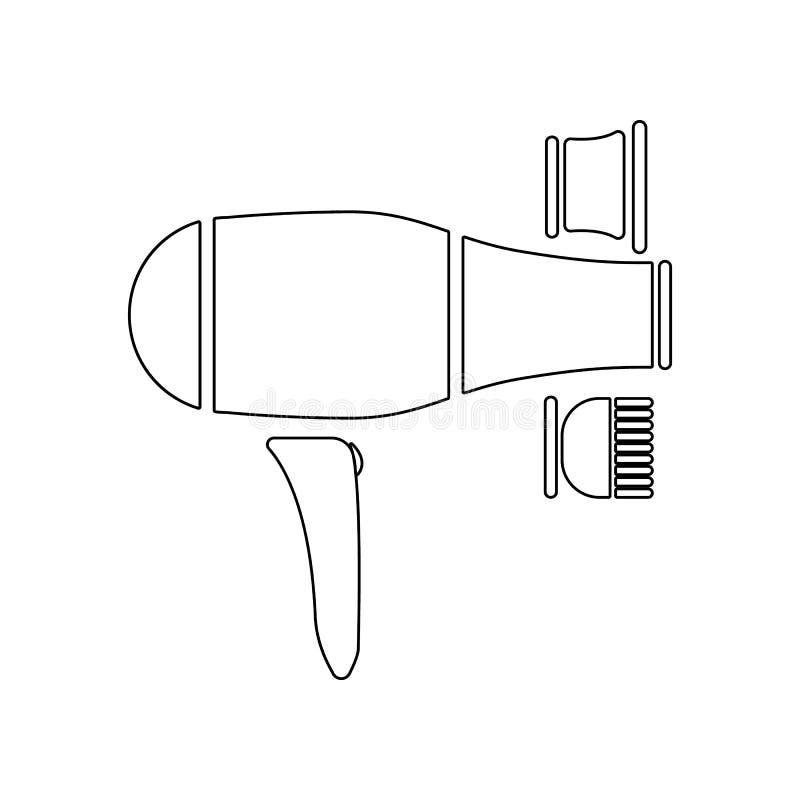 icono del hairdryer y del cepillo para el pelo Elemento del peluquero para el concepto y el icono m?viles de los apps de la web E stock de ilustración