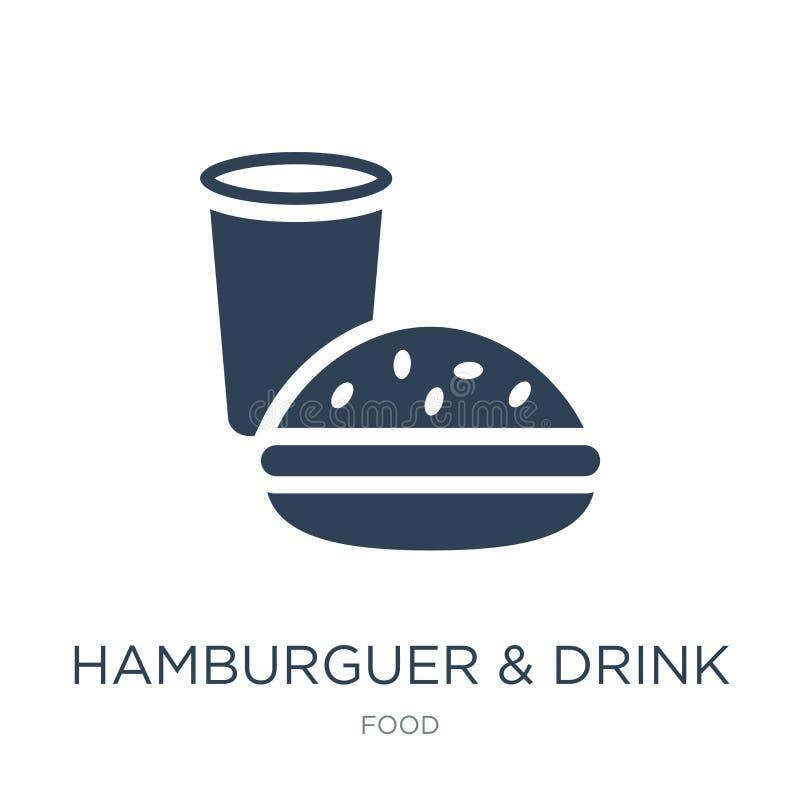 icono del hamburguer y de la bebida en estilo de moda del diseño Icono de Hamburguer y de la bebida aislado en el fondo blanco ve ilustración del vector