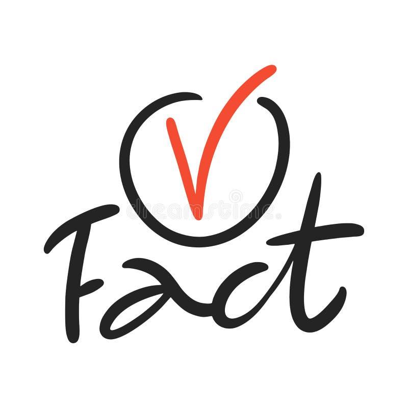 Icono del hecho Letras exhaustas de la frase del vector de la mano Aislado en el fondo blanco stock de ilustración